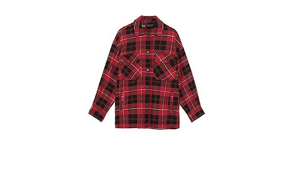 Zara 6318/224/065 - Camiseta de Cuadros para Mujer Rojo L ...