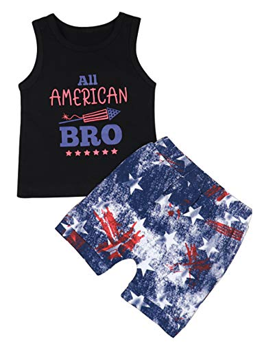 4th of July Baby Boy American Flag Star Rocket BRO Summer Vest + USA Star Shorts Toddler Cool Outfits 2PCS Sets(12-18 M)]()