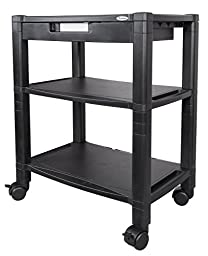Kantek Wide 3-Shelf Desk-Side Mobile Printer Stand with Organizing Drawer, 20\