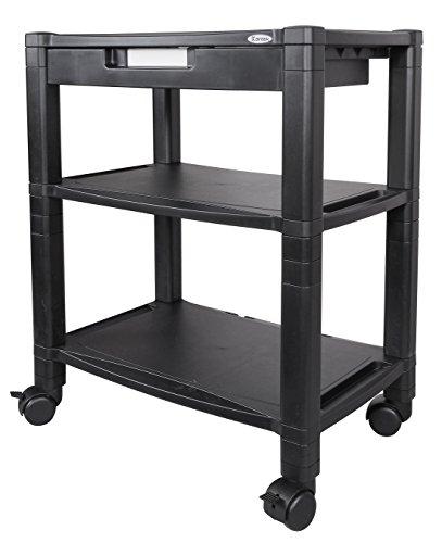 Kantek Wide 3-Shelf Desk-Side Mobile Printer Stand with Organizing Drawer, 20
