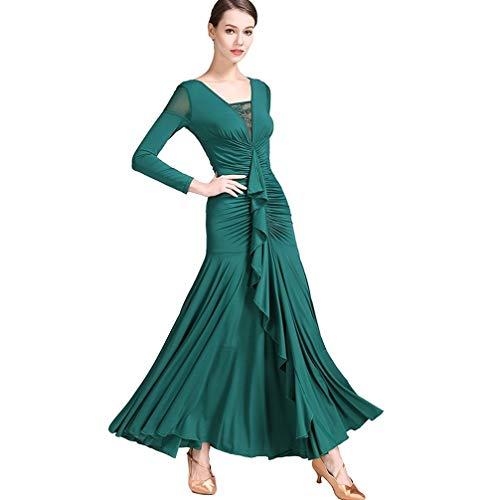 Tulle Waltz Vestito Manica Pieghe Lunga Donna Neck Scuro Da Sul Prestazione V Verde Davanti Moderno Ballo Sottile Sala Pizzo axg6f0Bqwn