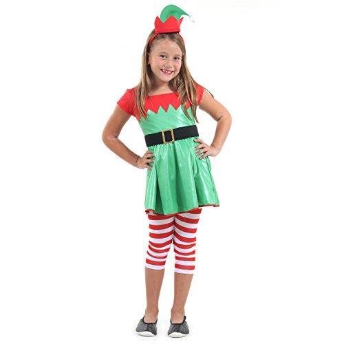 Duende Natal Feminina Infantil Sulamericana Fantasias Verde/Vermelho P 3/4 Anos