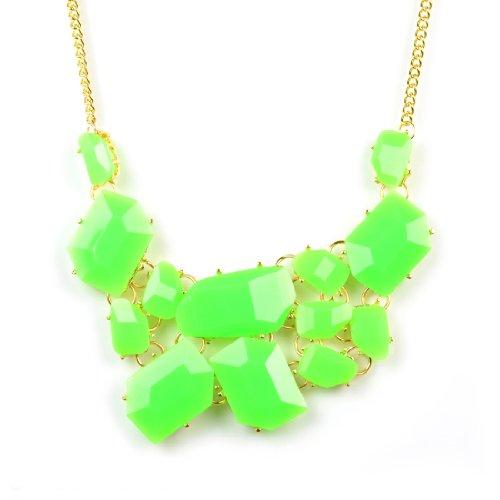 Huan Xun Women's Neon Green Acrylic Stone Cluster Bib Bubble Necklace ()
