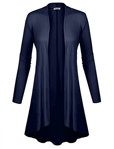 BIADANI Women Long Sleeve Classic Lightweight Open Front Jersey Cardigan Navy X-Large