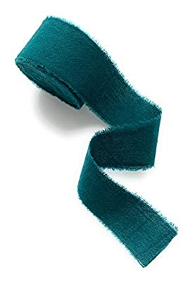 "Teal 1"" wide 5yd satin ribbon, cotton frayed edges hand dyed, for Rustic wedding invitation ties, favors gift wrapping Party decor bows, Florist Bouquet supplies, Flat lay styling props"