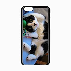 iPhone 6 Black Hardshell Case 4.7inch kitten toys playful lies spotted Desin Images Protector Back Cover