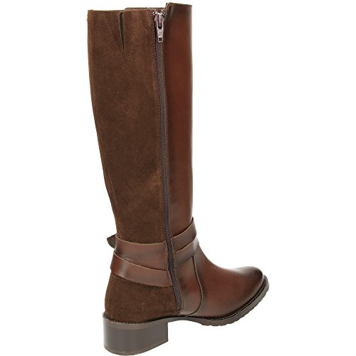 Carmela Suede Leather Flat Knee Boots Brown MZu643e