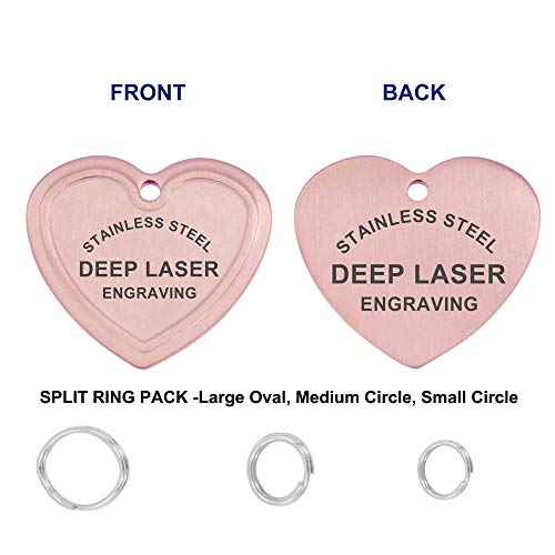 Divoti PVD Rose Gold Stainless Steel Deep Custom Laser Engraved Pet ID Tags, Personalized Dog Tags for Pets w/Split Ring Pack-Engravable Front & Back (Up to 8 Lines) - Heart - Dog Heart Gifts Tag