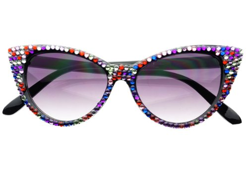 Womens Rare Retro Vintage Designer Celebrity Style Rhinestone Crystal Cat Eye Sunglasses - Multi Sunglasses Color