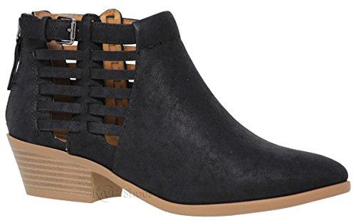 - MVE Shoes Women's Triangle Cutout Side Chuncky Heel Bootie, Primrose Black 10
