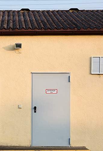 10 Stück Aufkleber Brandschutztür Nicht verkeilen verstellen | Selbstklebend Folie für Betriebe, Produktion & Kliniken | 210 x 74 mm