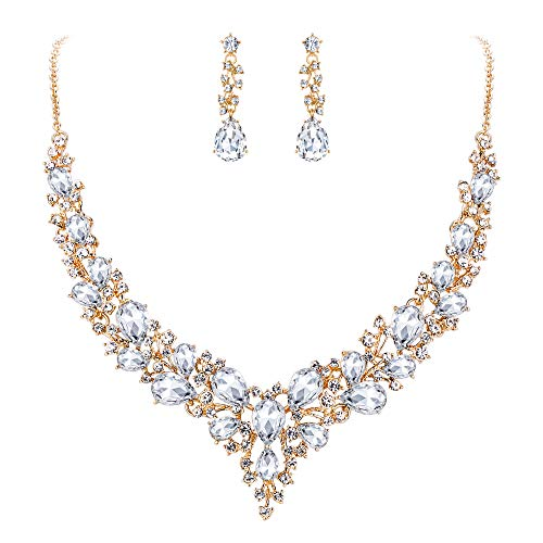 BriLove Wedding Bridal Necklace Earrings Jewelry Set for Women Austrian Crystal Teardrop Cluster Statement Necklace Dangle Earrings Set Clear Gold-Toned