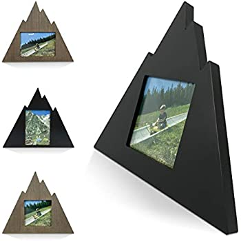 Mountain Shaped Outdoor Picture Frame - Geometric Home Mountain Cabin Decor Wooden Wall Picture Frame (Black - 4x4 Picture Frame)