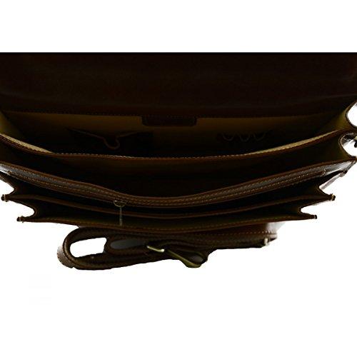 Cartella In Vera Pelle 2 Scomparti Colore Marrone - Pelletteria Toscana Made In Italy - Business