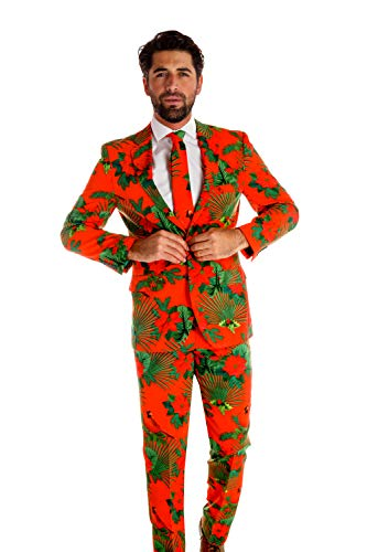 Shinesty Ugly Christmas Suit for Men, The Mele Kalikimaka Christmas Hawaiian Party Suit (46 Jacket, 36 Pants)