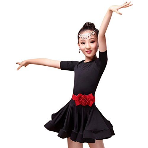 [Children Girls Pure Color Classic Latin Rumba Samba Dance Dress Ballroom Dancewear for 8-9Y Black] (Ballroom Dance Costume For Kids)