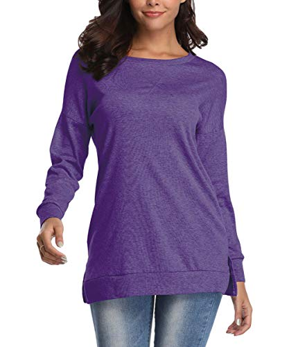 - Kool Classic Women's Casual Long Sleeve Crewneck Side Split Loose Pullover Tunic Tops Purple Medium