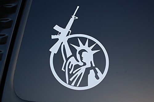 Five Star Graphics Statue of Liberty NRA Vinyl Sticker Decal Choose Color & Size!! Rifle Gun Hunting 3 Percenter (V199) (5 X 3.25, White)