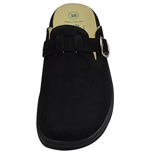 Algemare 5922 Damen Pantoffeln, Clogs Wechselfußbett schwarz