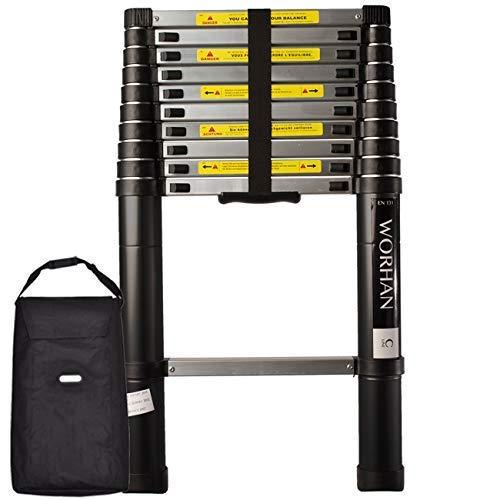 WORHAN/® 3.2m TELESKOPLEITER ALULEITER ANLEGELEITER ALULEITER ALU TELESKOP LEITER MULTIFUNKTIONS LEITER 320cm 1K3.2C+bag
