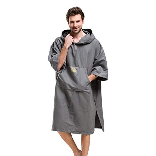 (Mens Poncho Towel Oversized Pure Gray Men's Surf Poncho Quick Drying Compact Beach Hooded Towel Cover Up Bathrobes Microfiber Changable Clothes Wetsuit Changing Towel Swimming Bath Robe With Hood Pock)