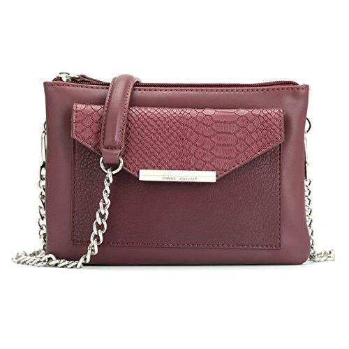 Python Leather Shoulder Handbag - DAVIDJONES Stylish Red Chains Leather Travel Organizer Zipper Pochette Purse for Women