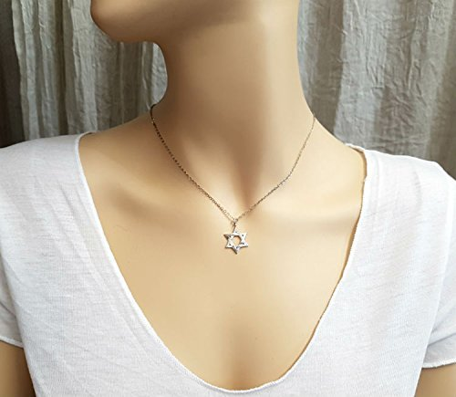 Necklace Solid Tiffany (Star of David Necklace Jewish for Men and Women 925 Sterling Silver Symbol Pendant Israel Jewelry Bar Bat Mitzva Gift)