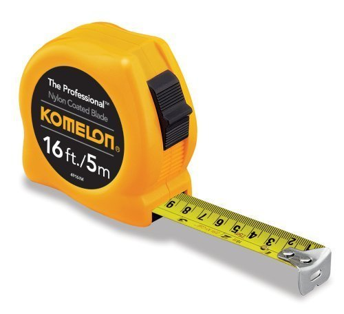 Komelon 4916IM The Professional 16-Foot Inch/Metric Scale Power Tape, Yellow - 4 Pack