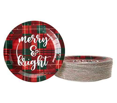 Disposable Plates - 80-Count Paper Plates, Christmas Holiday Party Supplies for Appetizer, Lunch, Dinner, Dessert, Red and Green Plaid Design, 9 Inches -