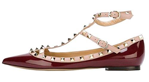 Calaier Mujer Cahouse Plataforma 0CM Sintético Hebilla Sandalias de vestir Zapatos Rojo