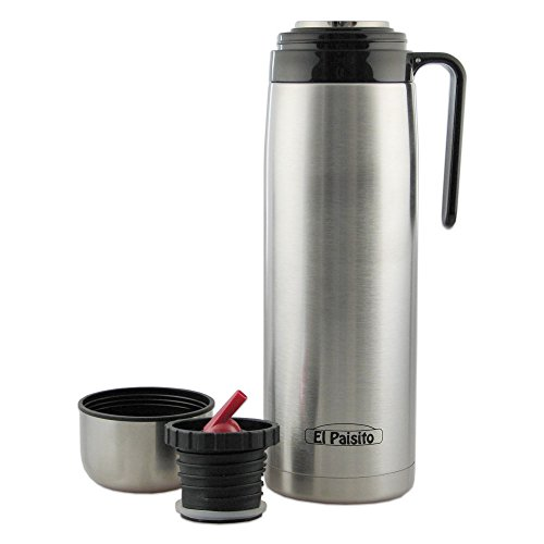 El Paisito Termo Stainless Steel 1 Litre Vacuum Flask for Yerba Mate, Silver, 8 x 8 x 30 cm