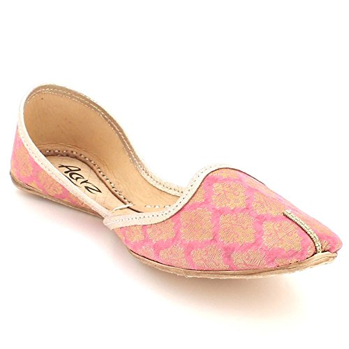 Traditional Size Pumps Shoes Handmade Women Leather Indian Khussa On Ladies LONDON Jutti Peach Mojari Flat AARZ Ethnic Bridal Slip qTOtYn