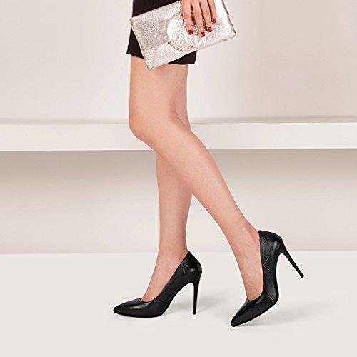 Hauts Pointues Talons Bien des Professionnels Chaussures Bouche Peu Chaussures Simples Noir Avec Wysm Profonde Femmes RSqgIXT