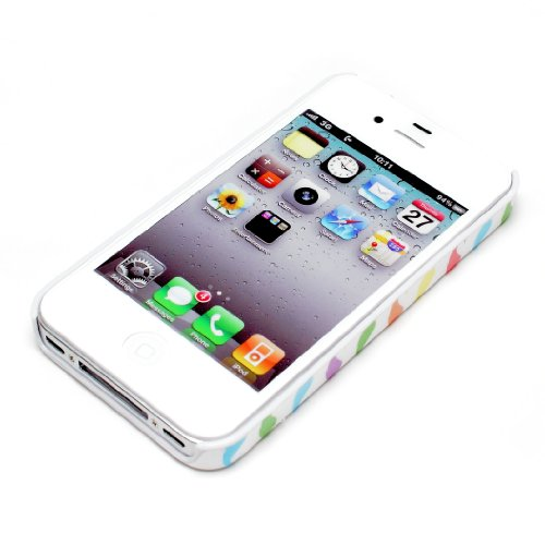 deinPhone Coque de protection rigide Moustaches colorées pour iPhone 4/4S Blanc