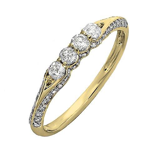(Dazzlingrock Collection 0.50 Carat (ctw) 14K Round Diamond Ladies Wedding Band Stackable Ring, Yellow Gold, Size 6)