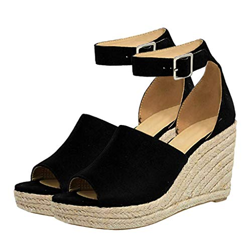 Womens Wedges Sandals Buckle Ankle Strap Sandals Fish Mouth Lady Breathable Shoe,Outsta 2019 Fashion Shoes Black (Best Spinning Wedges 2019)