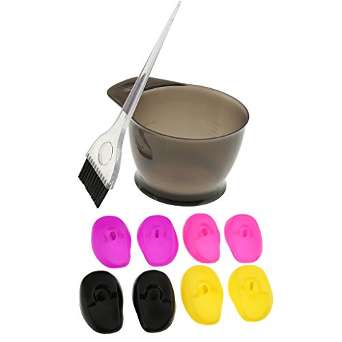Dovewill Salon Hair Color Dye Bowl Brush Tint Bleach Tools with 8 Pieces Silicone Ear Cover by Dovewill