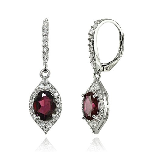 LOVVE Sterling Silver Gemstone White Topaz Oval Dangle Earrings, Choice of Colors