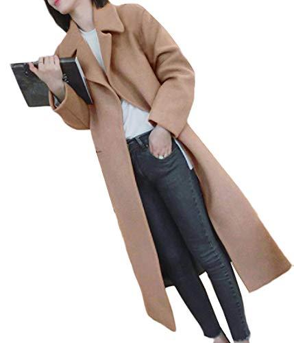 Howme Long Fall Turn Classic Collar Coat Winter Woolen Khaki Women Down r6TwRrq