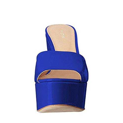 Ydn Mujeres Tacones Altos Plataforma Mules Peep Toe Zuecos Slip On Wedge Sandals Slide Zapatos Blue