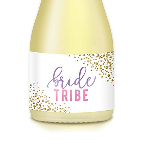 BRIDE TRIBE 20 Count Mini Champagne or Wine Bottle Labels, Purple Pink Sparkling Bachelorette Engagement Party Favor Decals, Bridal Shower & Wedding Attendant Gift Bags & Boxes, 3.5