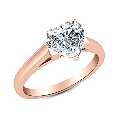 0.46 Ct Heart Cut Cathedral Solitaire Diamond Engagement Ring 14K Rose Gold (H Color SI1 Clarity) ()