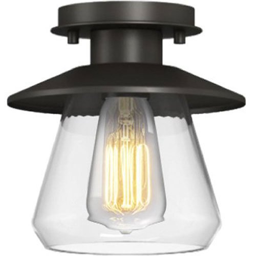 Globe Electric Vintage Semi-Flush Mount Light, Oil Rubbed Bronze Finish, 1x A19 60W Bulb (sold separately), 64846 - Bronze Finish Bulbs