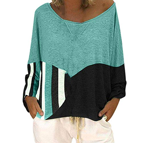 (Mebamook Women's Scoop Neck A-Line Tunic Blouse Striped Off Shoulder Bell Sleeve Shirt Tie Knot Casual Blouses Green)
