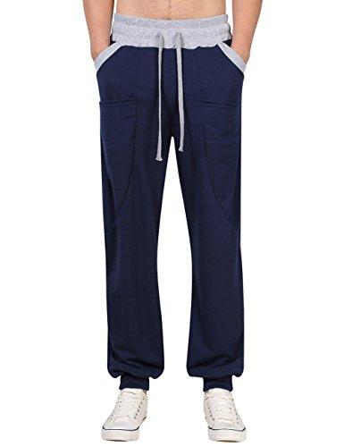 Mens Casual Active Wear Lightweight Drawstring Elastic Close Bottom Cotton Gym Joggers Sweatpants (S Navy) Cotton Blend Gym Pant