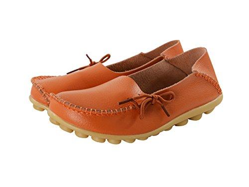 Siècle Étoile Femme Casual Cuir Doux Confort À Lacets Noué Mocassins Pantoufles Bateau Chaussures Pantoufles Mocassins À Plat Orange