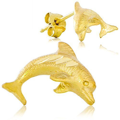 Gold Dolphin Post Earrings - 1