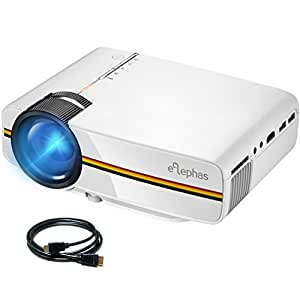 ELEPHAS LED Mini Video Projector, with 1200 Luminous Efficiency Support 1080P 150'' Portable Pico Projector Ideal for Home Theater Cinema Movie Entertainment Games Party, White