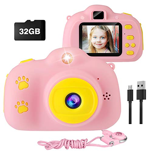 Kids Camera, VAV Digital Video Camera for Girls Gifts for Children, Good Size for Little Hands, Easy to Take Pictures and Videos, Cute Rechargeable Creative DIY Camcorder with 32GB SD Card (Pink)