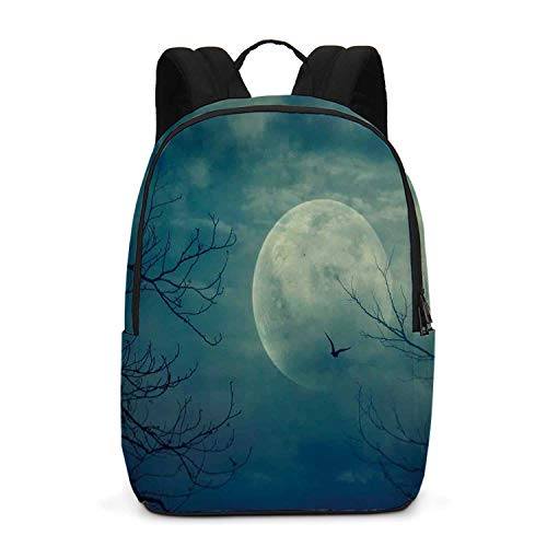 Horror House Decor Durable Backpack,Halloween with Full Moon in Sky and Dead Tree Branches Evil Haunted Forest for School Travel,One_Size]()